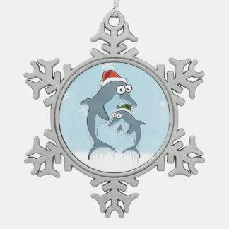 De Dolfijnen van Kerstmis Tin Sneeuwvlok Ornament