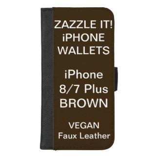 De douane personaliseerde BRUINE iPhone 8/7 plus iPhone 8/7 Plus Portemonnee Hoesje