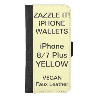De douane personaliseerde GELE iPhone 8/7 plus iPhone 8/7 Plus Portemonnee Hoesje