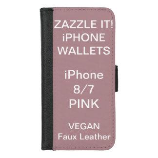 De douane personaliseerde ROZE iPhone 8/7 Spatie iPhone 8/7 Portemonnee Hoesje
