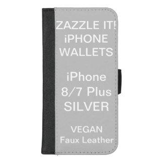 De douane personaliseerde ZILVEREN iPhone 8/7 plus iPhone 8/7 Plus Portemonnee Hoesje