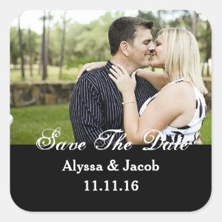 De eenvoudige Foto van Paren bewaart het Huwelijk Vierkante Sticker