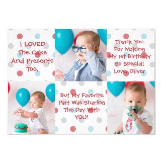 De eerste Verjaardag dankt u kaardt Kaart
