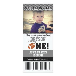 De Eerste Verjaardag _GREY/BLACK van het football 10,2x23,5 Uitnodiging Kaart