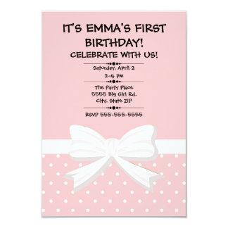 De Eerste Verjaardag van het roze en Witte Kind Kaart