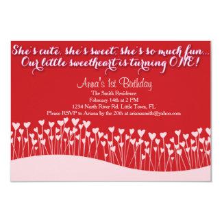 De Eerste Verjaardag van Valentijn 8,9x12,7 Uitnodiging Kaart
