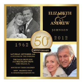 De elegante 50ste Uitnodigingen van de Foto van 13,3x13,3 Vierkante Uitnodiging Kaart