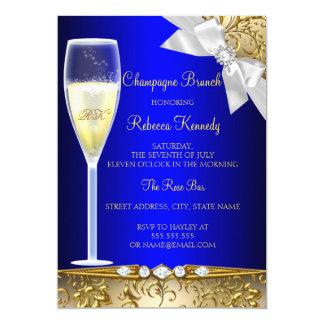 De elegante Blauwe Gouden Witte Brunch van 12,7x17,8 Uitnodiging Kaart