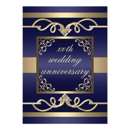 De elegante Blauwe het huwelijksverjaardag van de  Custom Uitnodging