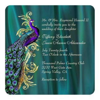 De elegante Blauwgroen Uitnodiging van het 13,3x13,3 Vierkante Uitnodiging Kaart