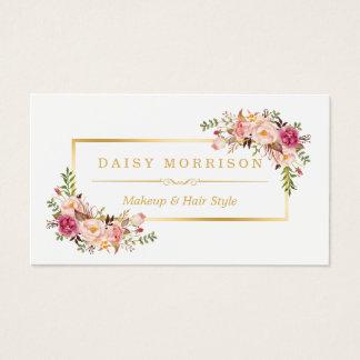 De elegante Bloemen Gouden Salon van de Schoonheid Visitekaartjes
