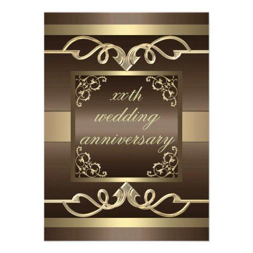 De elegante Bruine het huwelijksverjaardag van de  Custom Uitnodigingen