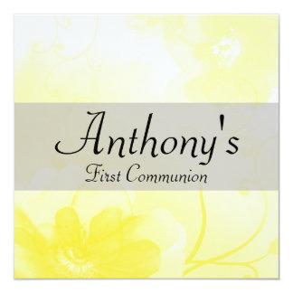De elegante gele en Grijze Eerste Heilige Communie Kaart