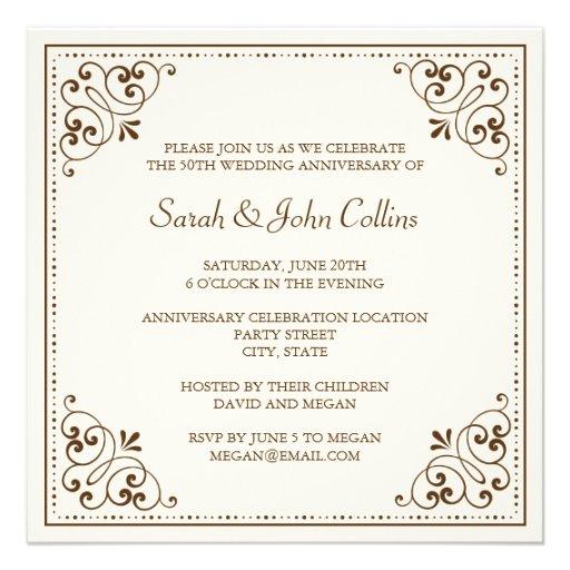 De elegante huwelijksverjaardag nodigt - bruin, ro persoonlijke aankondigingen