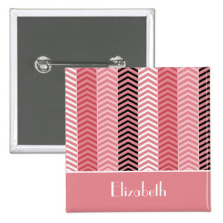 De elegante Moderne Roze Strepen en de Naam van de Vierkante Button 5,1 Cm