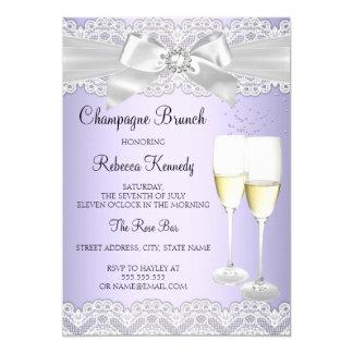 De elegante Paarse Witte Brunch van Champagne van 12,7x17,8 Uitnodiging Kaart