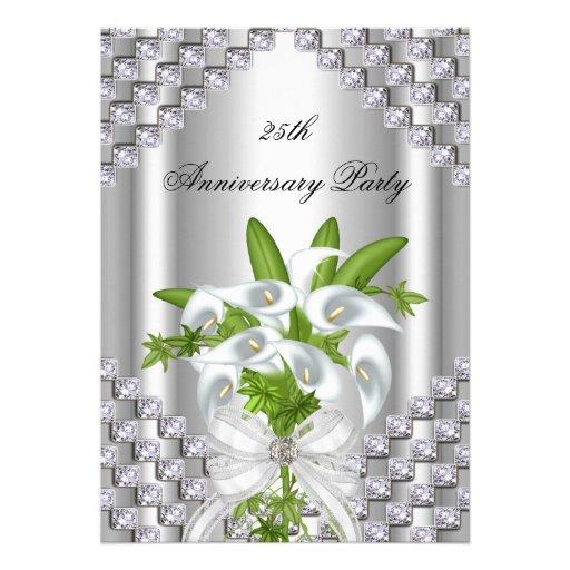 De elegante Zilveren Witte Bloemen 25ste Partij va Persoonlijke Uitnodiging