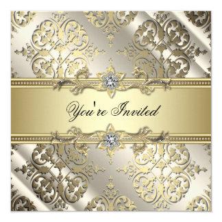 De elegante Zwarte Gouden Partij van het Damast 13,3x13,3 Vierkante Uitnodiging Kaart