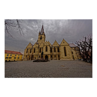 De evangelische Middeleeuwse Kerk Sibiu Romani van Poster