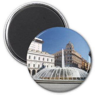 De Ferrari Square, Gênes, Italie Magnet Rond 8 Cm