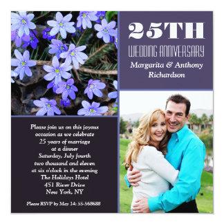 de fotouitnodigingen van de huwelijksverjaardag 13,3x13,3 vierkante uitnodiging kaart