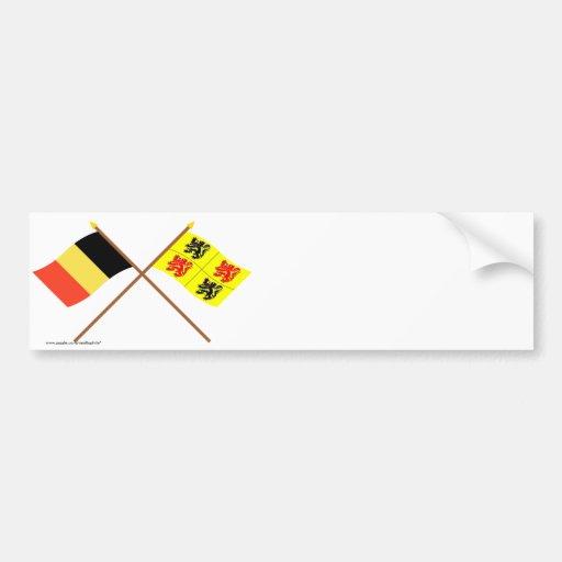 De gekruiste Vlaggen van België en van Henegouwen Bumpersticker