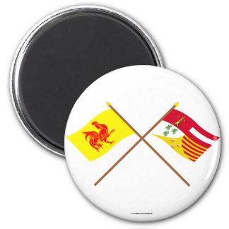De gekruiste Vlaggen van Waal en van Luik Magneet