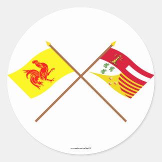 De gekruiste Vlaggen van Waal en van Luik Ronde Sticker