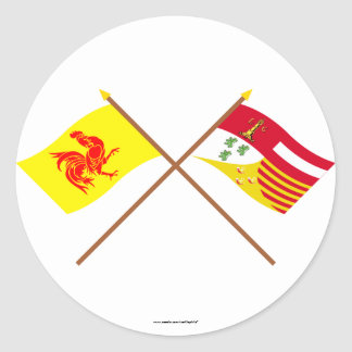 De gekruiste Vlaggen van Waal en van Luik Ronde Stickers