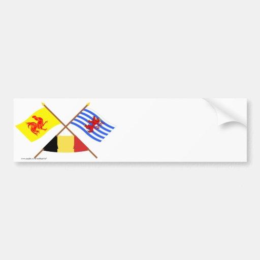 De gekruiste Waalse & Vlaggen w België van Luxembu Bumperstickers
