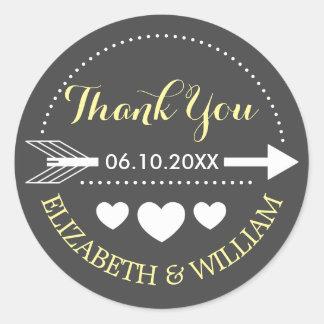 De gele Grijze Sticker van het Huwelijk dankt u de