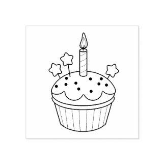 De gelukkige Kaars Cupcake van de Verjaardag Rubberstempel