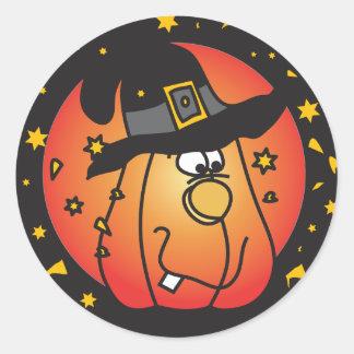 De gelukkige Oranje Pompoen van Halloween Ronde Sticker