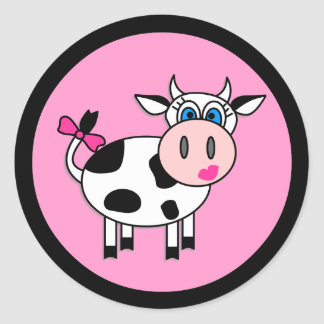 De gelukkige Stickers van de Koe van het Meisje