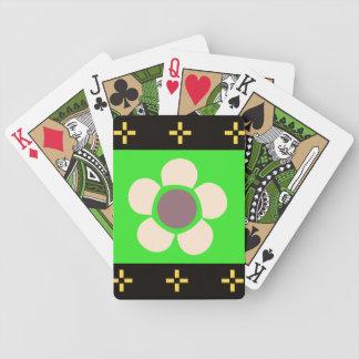 De geometrische groene bruine zwarte van Bloemen Bicycle Speelkaarten