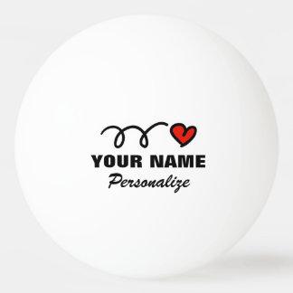 De gepersonaliseerde bal van de hartpingpong voor pingpongballen