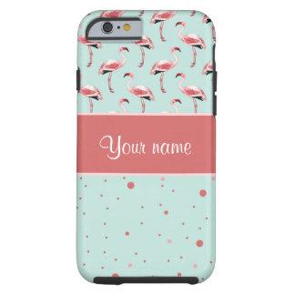 De gepersonaliseerde Roze Stippen van Flamingo's Tough iPhone 6 Hoesje