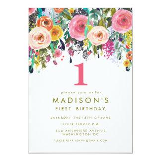 De geschilderde Bloemen 1st Verjaardag van Meisjes 12,7x17,8 Uitnodiging Kaart