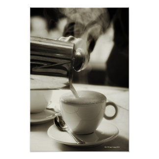 De/gestoomd kunst die van verse koffie maakt poster