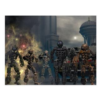 de glorierijke zeven robots B Briefkaart