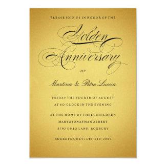 De gouden 50ste Zwarte & het Goud van de 12,7x17,8 Uitnodiging Kaart