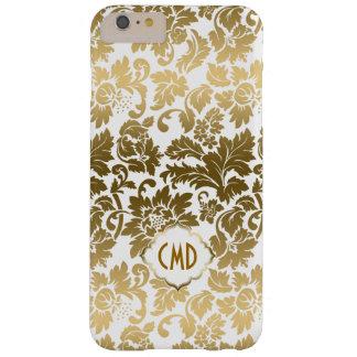 De gouden BloemenDamasten van Tonen over Witte Barely There iPhone 6 Plus Hoesje