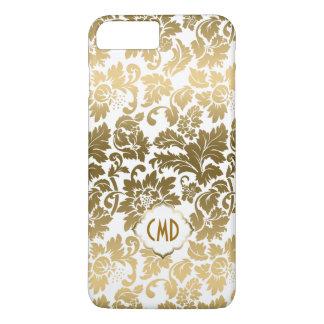 De gouden BloemenDamasten van Tonen over Witte iPhone 8 Plus / 7 Plus Hoesje