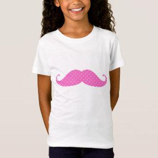 De grappige Hete Roze Snor van Stippen Girly T Shirt