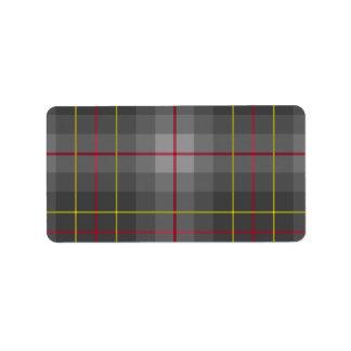 De grijze Etiketten van het Geruite Schotse wollen