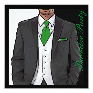 De groene zwarte witte partij van de 13,3x13,3 vierkante uitnodiging kaart