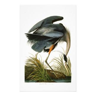 De grote Blauwe Reiger John Audubon Birds van Briefpapier