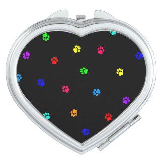 De hart-Gevormde Spiegel van de regenboog Pawprint Makeup Spiegel