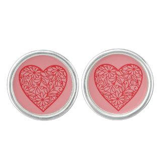 De Harten van rood Valentijn Manchetknopen