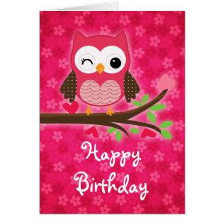 De hete Roze Leuke Gelukkige Verjaardag van Girly Kaart